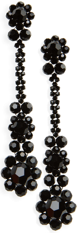 Simone Rocha Crystal Drop Earrings in Jet