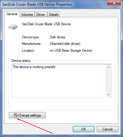 pendrive properties change settings
