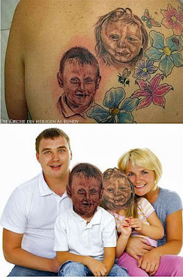 Lustige böse Bilder - hässliche Tattoos Kindergesichter