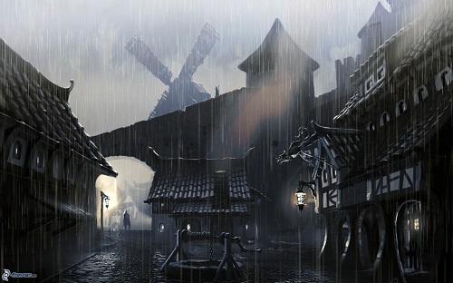 Ciudad medieval a oscuras y lloviendo, donde se puede ver al fondo una silueta de persona.