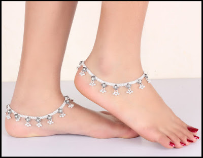 Silver Anklets With Stones