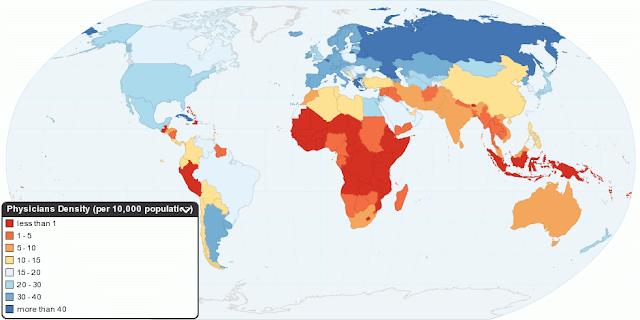 Статистика распределение врачей на 10000 населения