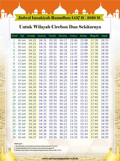 Jadwal Imsakiyah Ramadhan 1437 H / 2016 M Untuk Kota Cirebon