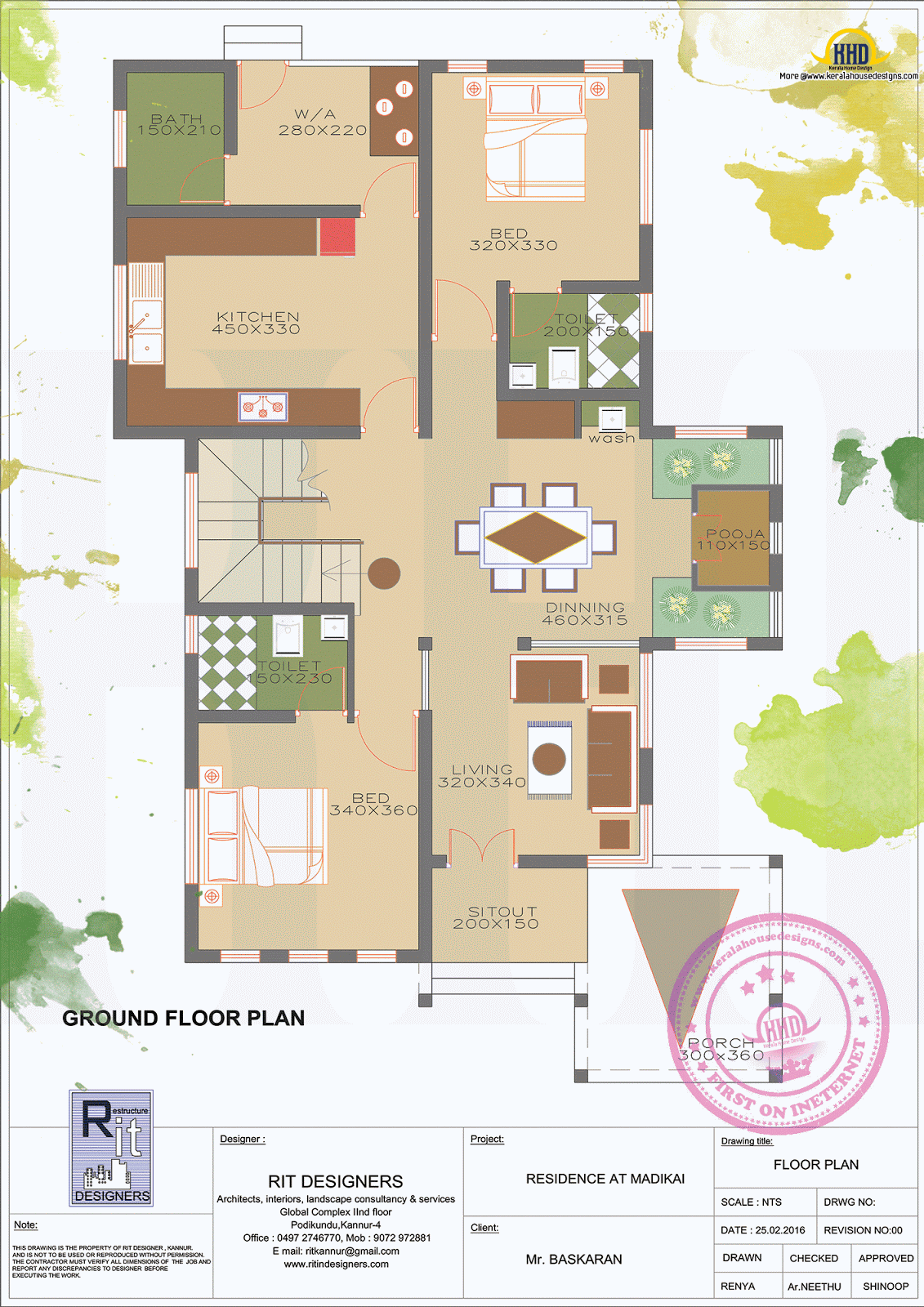 1800 sq ft floor 3 bedroom home with floor plan kerala Ground floor 3 bedroom plans