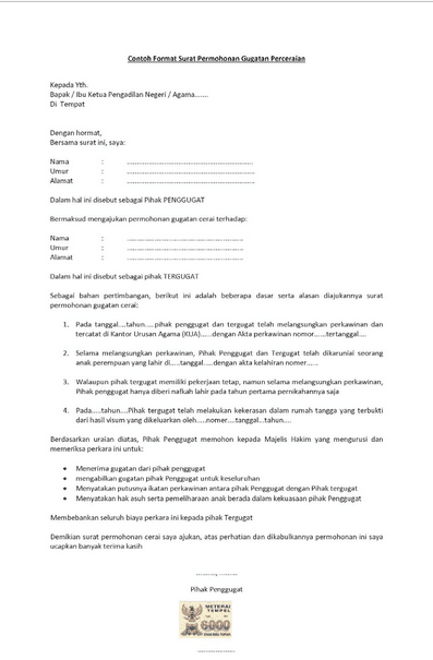 contoh surat pernyataan cerai diatas materai