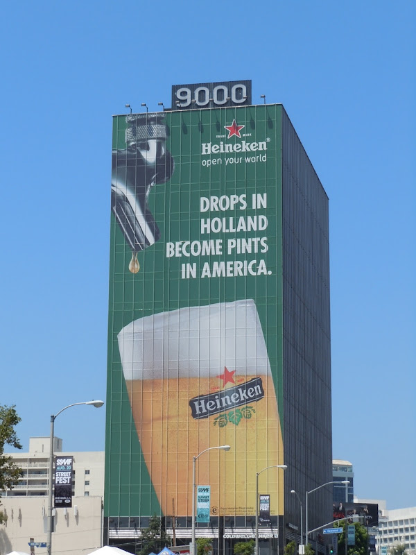 Giant Heineken drops billboard