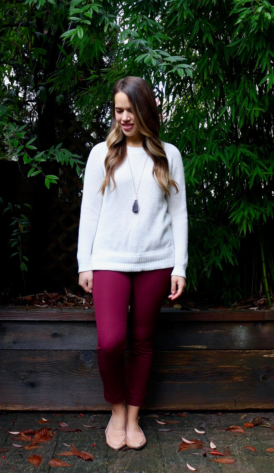 Jules in Flats - Old Navy Textured Crew Neck Sweater + Burgundy Ankle Pants (Business Casual Fall Workwear on a Budget)