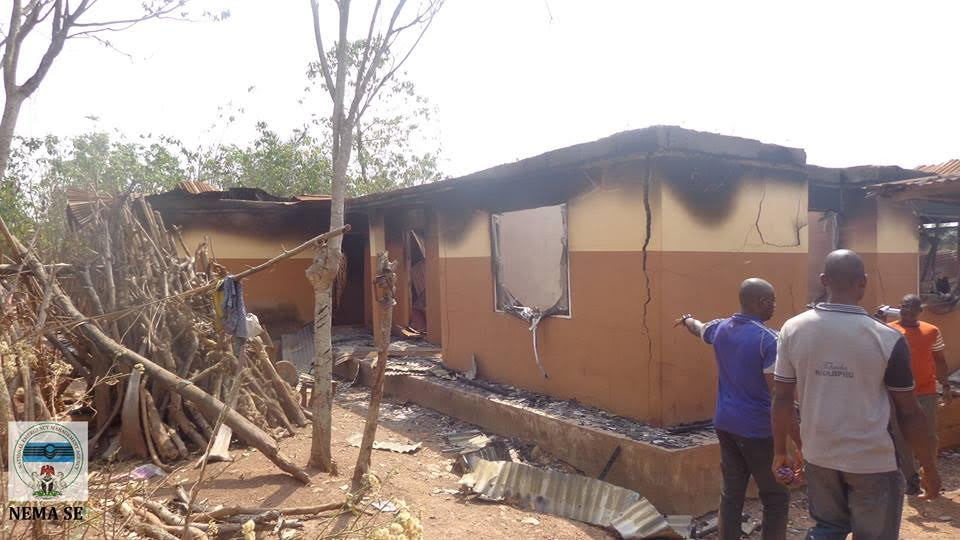 Pictures Of Vicious Attack On A Community In Abakaliki, State Properties Destroyed