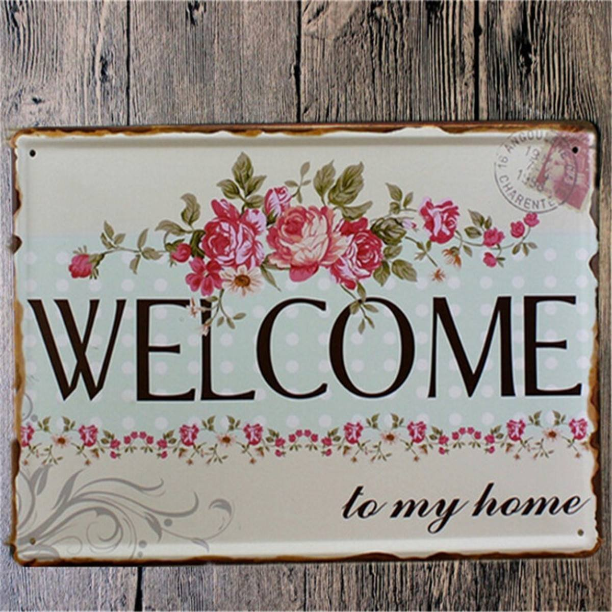 Welcome Home Metal Shabby Chic Vintage Sign Wall Decor