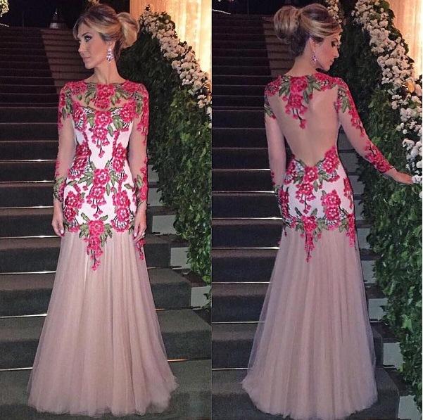 vestido de festa floral bordado ou aplicação