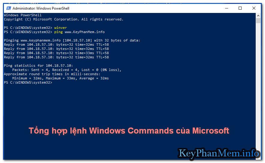 Tổng hợp lệnh Windows Commands của Microsoft