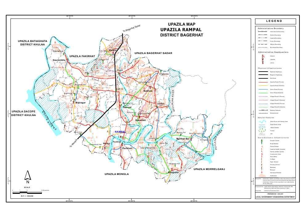 Rampal Upazila Map Bagerhat  District Bangladesh