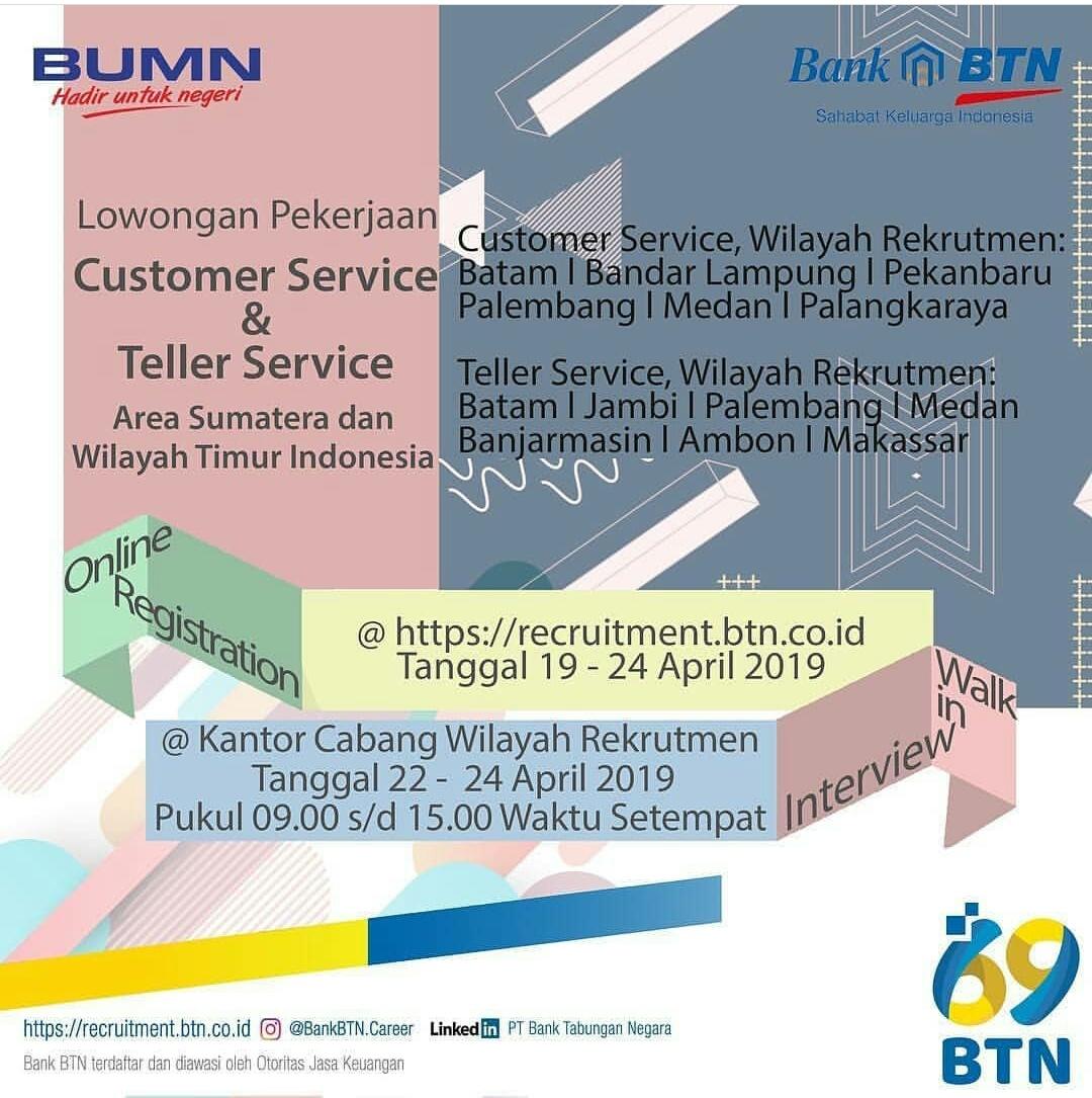 Info Update Terbaru Lowongan Kerja Bank Btn Walk In Interview Cab Medan Medanloker Com Lowongan Kerja Medan