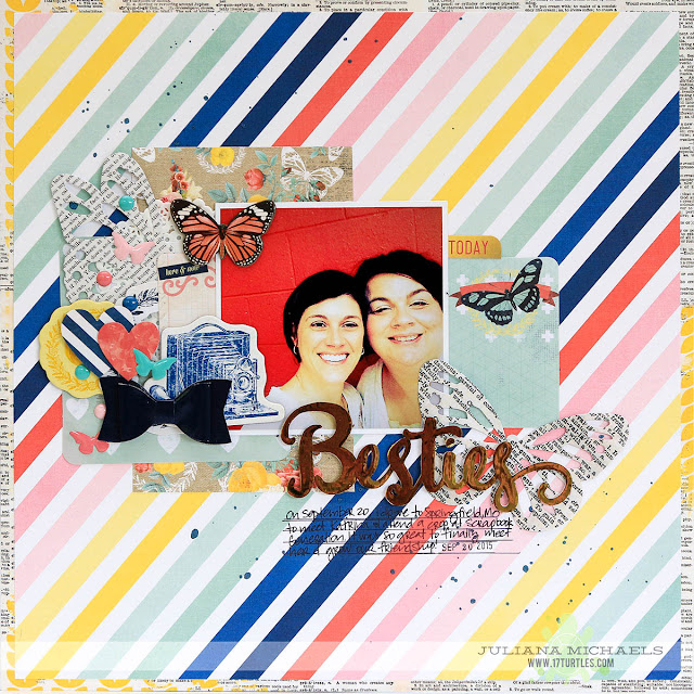 Besties Friends Scrapbook Page by Juliana Michaels featuring BoBunny and Therm O Web Deco Foil and Adhesives