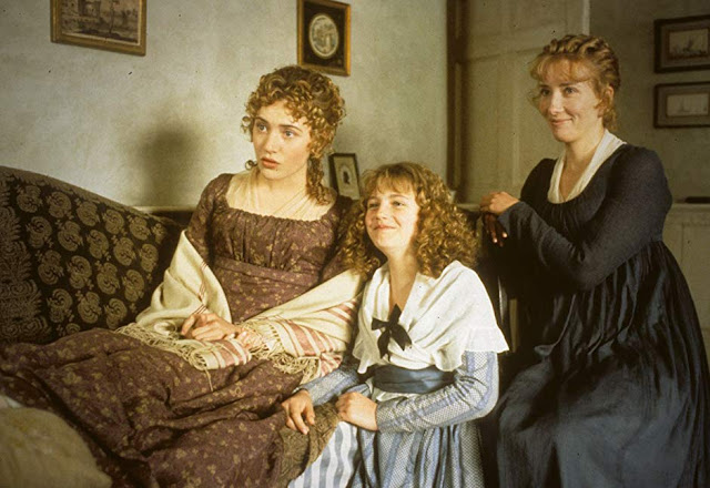 three young women in Regency period dress