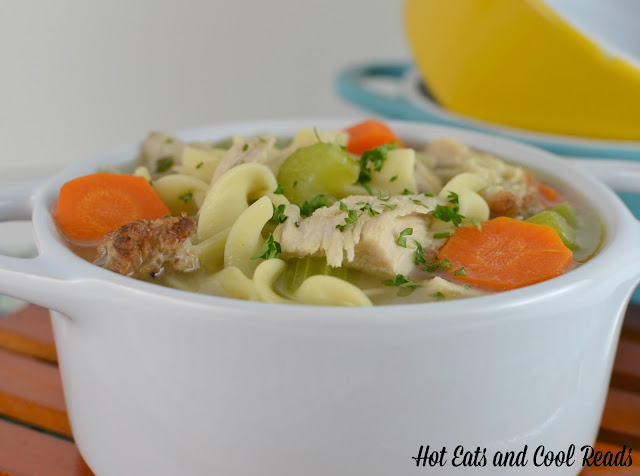 Great recipe to use your Thanksgiving leftovers! This soup is flavorful and comforting! Roasted Turkey and Stuffing Noodle Soup Recipe from Hot Eats and Cool Reads!