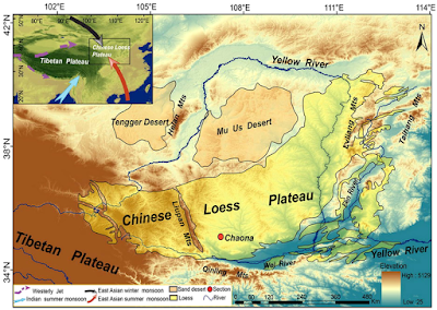 Map showing the physical geography of the Chinese Loess Plateau.