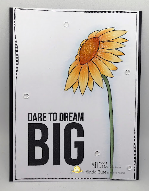 CAS card using sunflower digital stamp from Kinda Cute by Patricia Alvarez