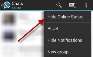 Hide your last connection / status in Whatsapp plus