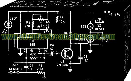 Simple 555 Based Alarm Circuit Diagram