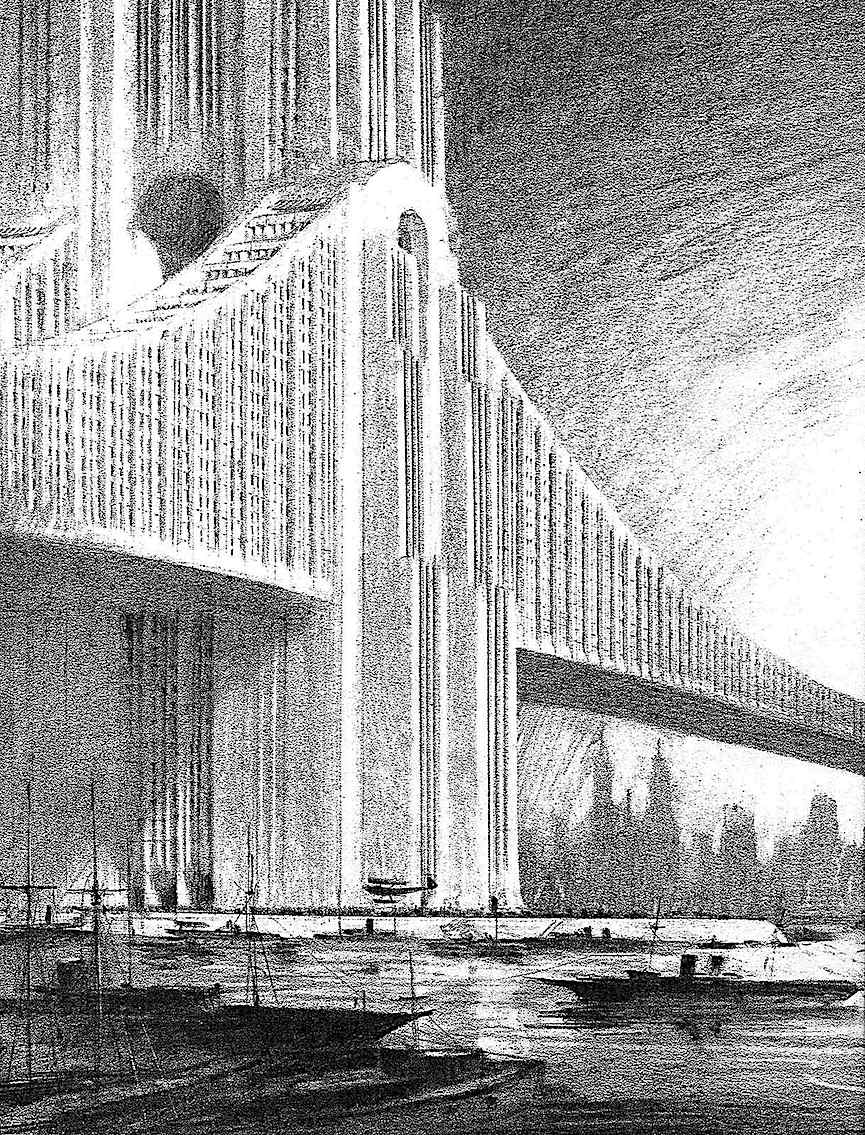 a Hugh Ferriss architectural fantasy of a giant bridge