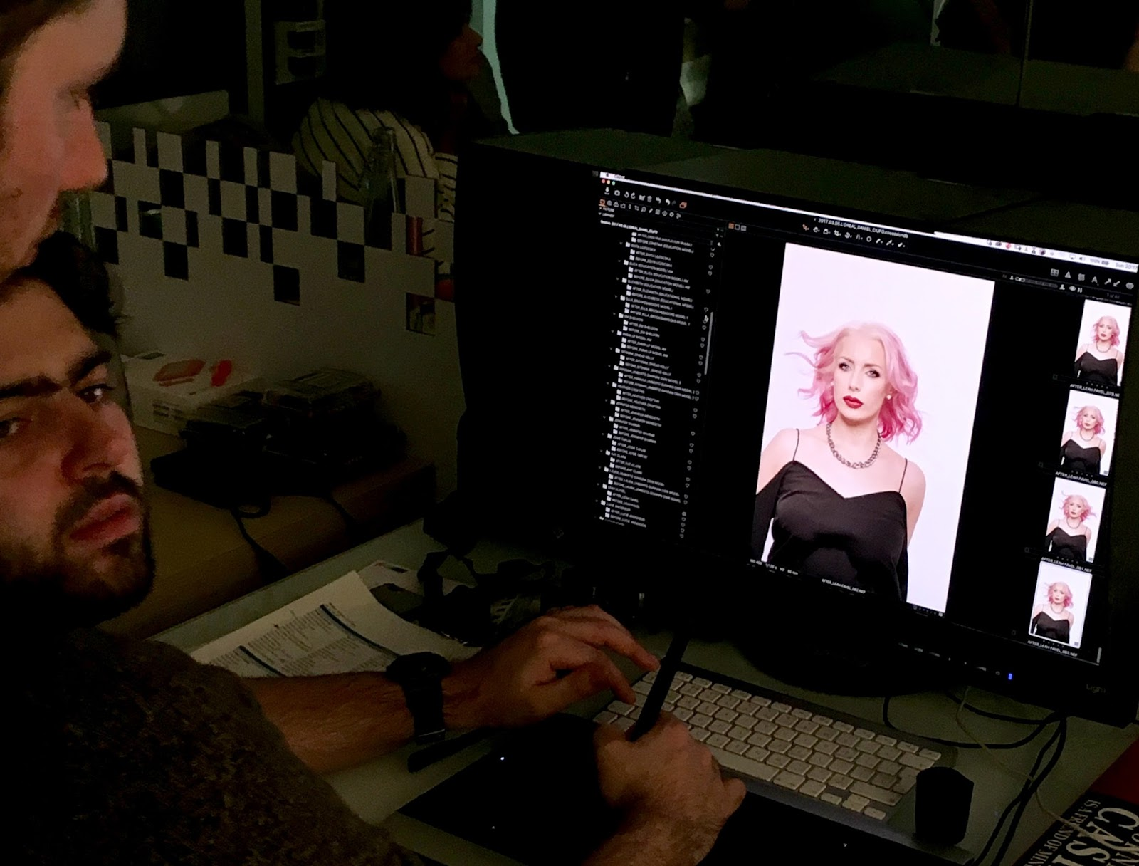 Checking out the shots, L'Oreal Pro UK Modelling, Pink Hair, Colourful Hair