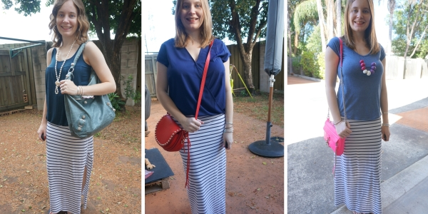 stripe maxi skirt 3 ways with matching navy tops awayfromblue