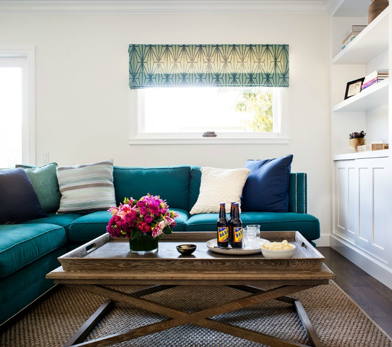 coastal aqua blue sectional sofa and jute rug