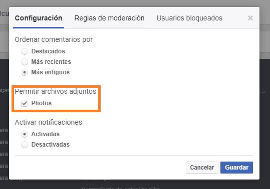habilitar fotos plugin comentarios de facebook