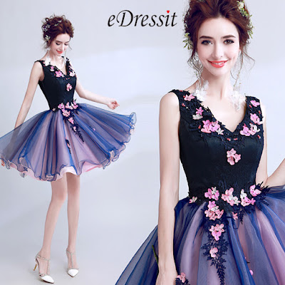 Blue Sexy V-Cut Flower Elegant Cocktail Party Dress