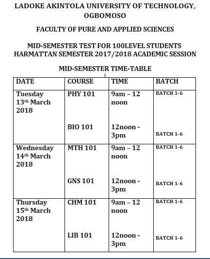LAUTECH-Mid-Semester-Test-Timetable 2017/2018