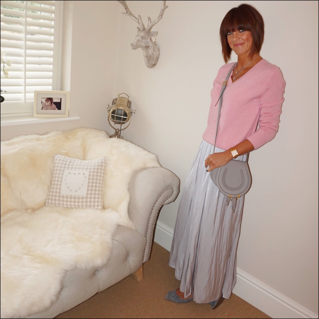 my midlife fashion, marks and spencer pure cashmere v neck jumper, chloe marcie cross body bag, massimo dutti soft gathered maxi skirt with side splits, j crew suede tassel pointed flats