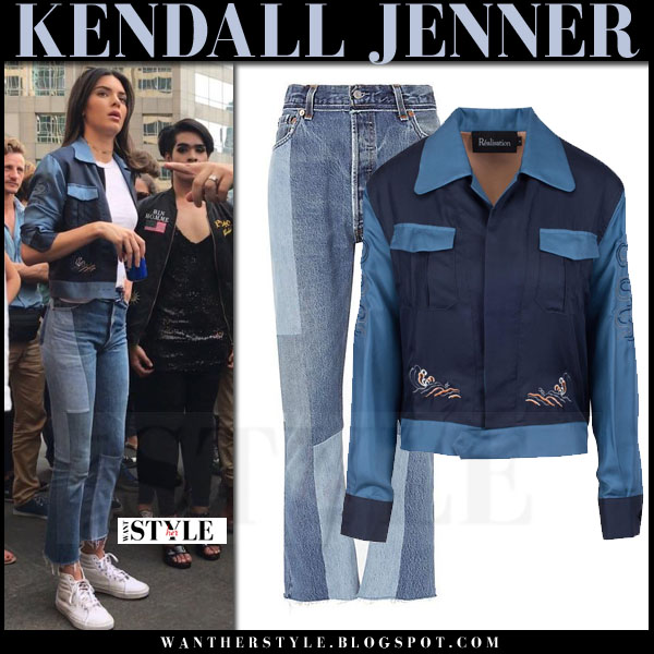Kendall Jenner in blue satin jacket, patched jeans and white sneakers vans sk8 what she wore streetstyle