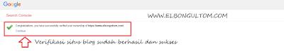 verifikasi situs di webmaster google sukses
