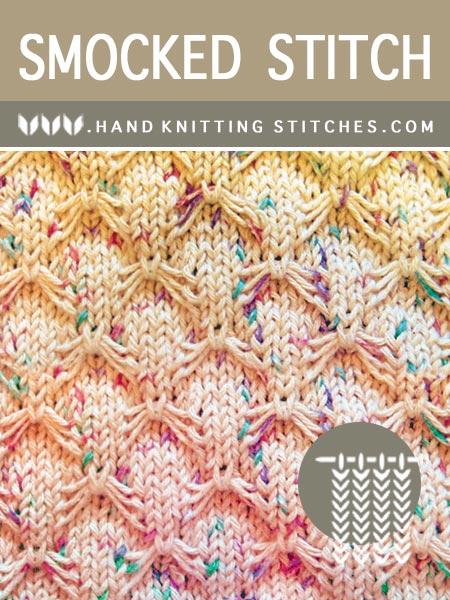 Hand Knitting Stitches - Smocked Slip Stitch Pattern