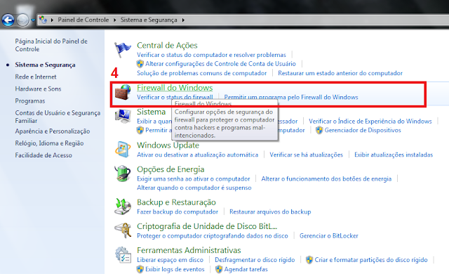 4 - Vá até Firewall do Windows.
