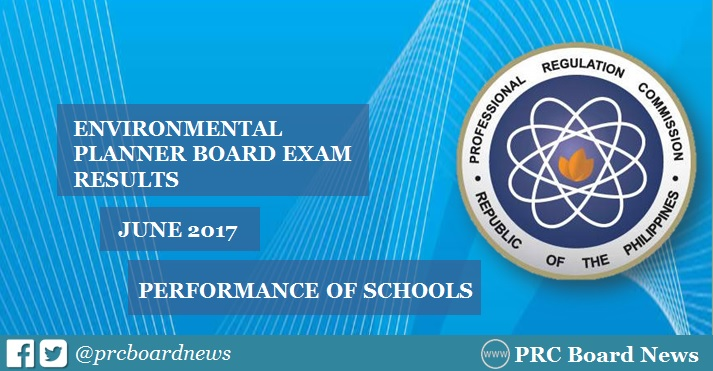 Performance of Schools: June 2017 Environmental Planner Board Exam Results