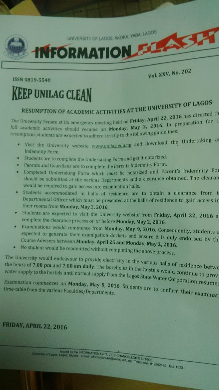 unilag set to resume academic activities on may 2nd