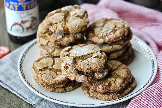 crystalized ginger, molasses, and amber ale cookies