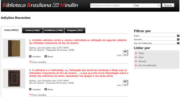 O site Brasiliana é um projeto da Universidade de São Paulo