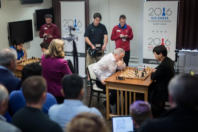 De izquierda a derecha - Nakamura, Caruana, Kasparov y So