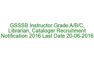 GSSSB Instructor Grade A-B-C, Librarian, Cataloger Recruitment Notification 2016 Last Date 20-06-2016