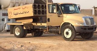العراق : الحشد الشعبي اللواء 28 يصنع راجمة صواريخ (جهنم 5 ) ترمي على احداثية الموقع