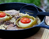 Pork Chops & Rice Oven Dinner ♥ KitchenParade.com