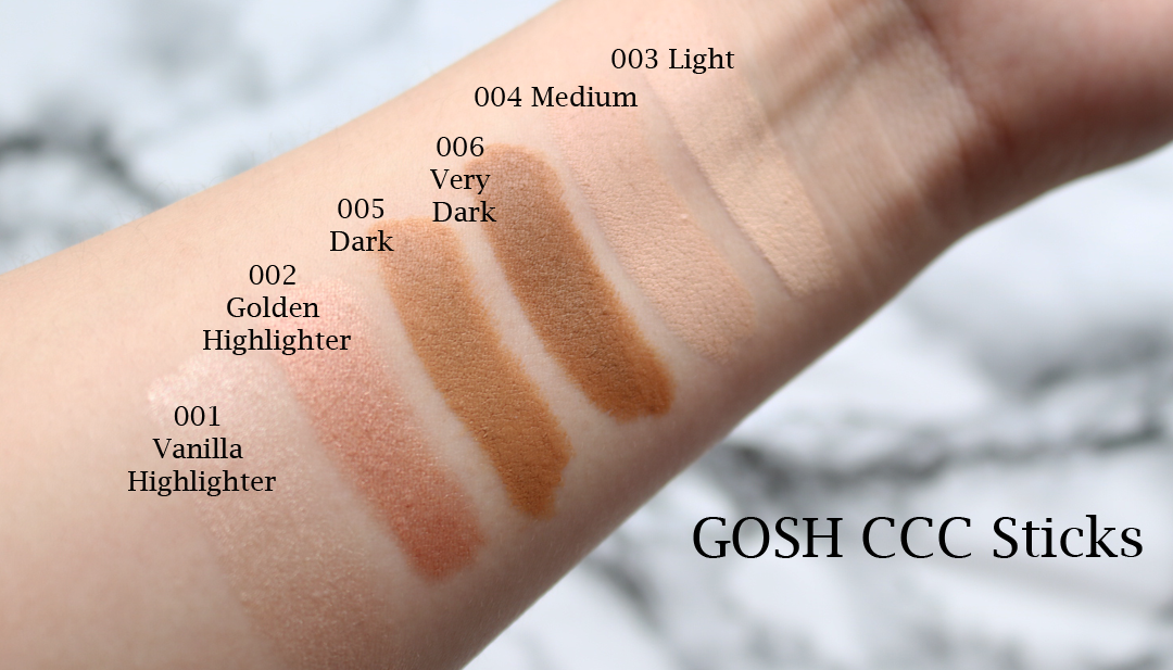 GOSH CCC Sticks review swatches