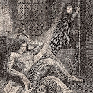 Victor Frankenstein et sa créature, illustration du roman de Mary Shelley