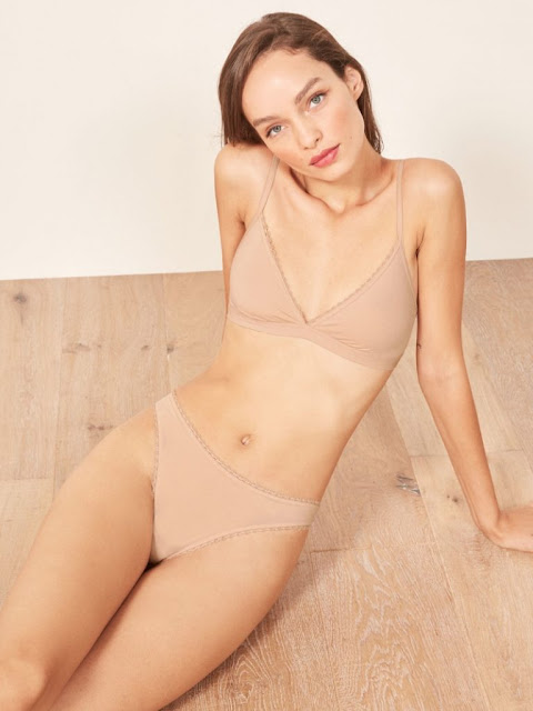 Reformation 'Kass' Bralette $35 and 'Karen' Thong in Nude $12
