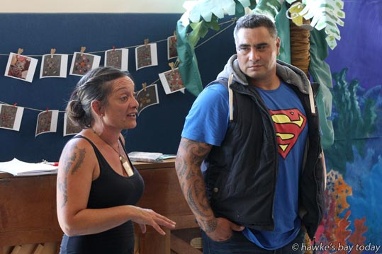 Kevin and Kiri Swannell update supporters of Limitless Hope at a public meeting at Bledisloe School in Taradale, Napier. photograph