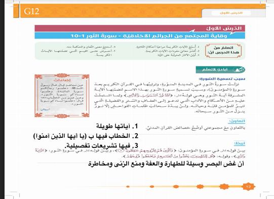 حل جميع دروس التربية الاسلامية للصف السادس الفصل الدراسي الاول