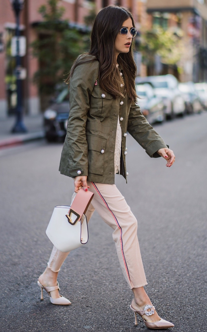street style addict / blush pants + bag + heels + top + khaki jacket